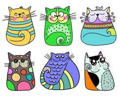 gatos bonitos desenhados à mão vetor