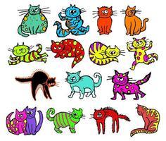 gatos desalinhados desenhados à mão fofos vetor