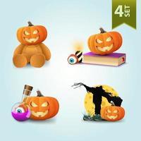 grande conjunto de ícones de halloween isolado no branco para suas artes. macaco de abóbora, espantalho e veneno de bruxa vetor
