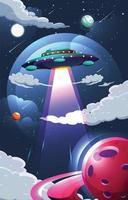 disco voador ufo no céu noturno vetor