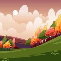paisagem de outono de montanha vetor