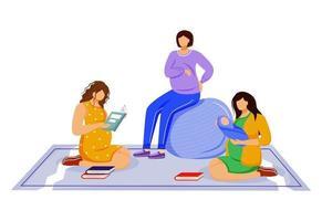 jovem mãe e ilustração vetorial plana de mulheres grávidas. sala de descanso para os pais. amigas em tempo de gravidez e senhora com personagens de desenhos animados recém-nascidos isolados em fundo branco vetor