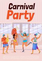modelo de vetor plana cartaz festa carnaval. mulheres com roupas festivas. homens tocando cavaquinho e conga. brochura, projeto de conceito de uma página de livreto com personagens de desenhos animados. panfleto de férias étnicas, folheto