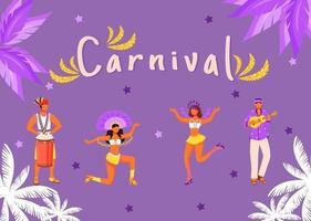 modelo de vetor plana de banner de carnaval. cartaz horizontal com design de conceitos. desfile brasileiro. homens brincando na ilustração dos desenhos animados de tumbadora com tipografia. mulheres dançando em fundo roxo
