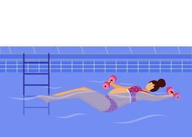 mulher grávida nadando em ilustração vetorial plana de piscina. estilo de vida saudável. jovem mãe de biquíni se exercitando na água com pesos, personagem de desenho animado vetor