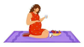 mulher grávida tomando medicação ilustração vetorial plana. assistência médica. nutrição saudável. jovem caucasiana usando comprimidos de vitaminas em um personagem de desenho animado de gravidez em fundo branco vetor