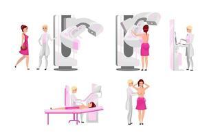 conjunto de ilustrações planas de exame médico de mama. mamografia, ultra-sonografia médica diagnóstica e palpação. conceito de exame de prevenção de câncer de mama. personagem de desenho animado mamífera e paciente vetor