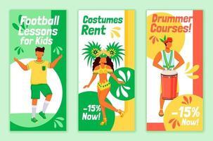 Conjunto de modelos de vetor plana de folhetos de carnaval brasileiro. aulas de futebol para crianças layout de design de folheto para impressão. aluguel de fantasias. cursos de baterista anunciando banner vertical na web, histórias em mídia social