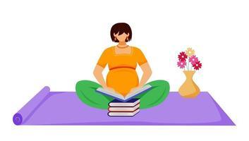 mulher grávida lendo livro ilustração vetorial plana. aprendizagem, preparação para a maternidade. futura mãe sentada no chão com uma pilha de livros de personagens de desenhos animados sobre fundo branco vetor