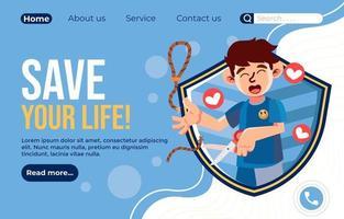 página inicial de prevenção de suicídio vetor