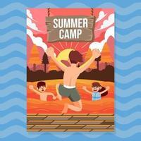 pôster de evento de natação de verão vetor