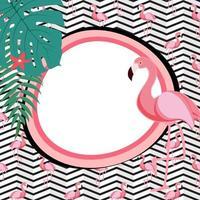 Fundo de quadro abstrato de verão fofo com ilustração vetorial de flamingo rosa vetor