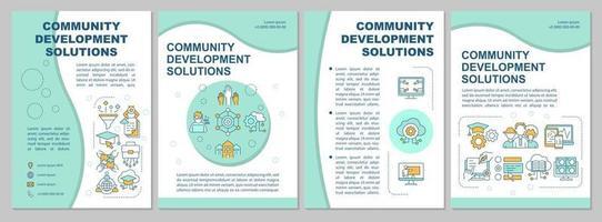 modelo de folheto de soluções de melhoria da comunidade. folheto, livreto, impressão de folheto, design da capa com ícones lineares. layouts de vetor para apresentação, relatórios anuais, páginas de anúncios