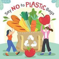 compras de mantimentos com sacola reutilizável vetor