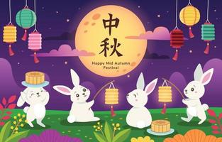 coelhos fofos celebrando festival do meio do outono vetor