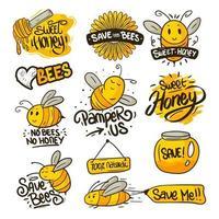 coleção de adesivos de proteção de abelhas vetor