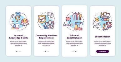benefícios de desenvolvimento da comunidade integrando a tela da página do aplicativo móvel com conceitos. aumento das habilidades passo a passo 4 etapas de instruções gráficas. modelo de vetor ui, ux, gui com ilustrações coloridas lineares