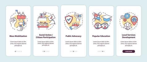 estratégias de mudança da comunidade integrando a tela da página do aplicativo móvel com conceitos. passo a passo de mobilização em massa com 5 etapas de instruções gráficas. modelo de vetor ui, ux, gui com ilustrações coloridas lineares