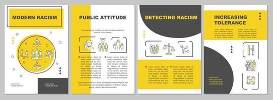 modelo de folheto de racismo moderno. desigualdade pública. folheto, livreto, impressão de folheto, design da capa com ícones lineares. layouts de vetor para apresentação, relatórios anuais, páginas de anúncios