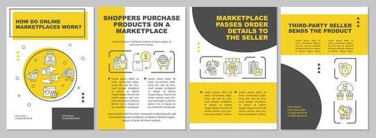 como funcionam os mercados on-line modelo de folheto. mercado online. folheto, livreto, impressão de folheto, design da capa com ícones lineares. layouts de vetor para apresentação, relatórios anuais, páginas de anúncios