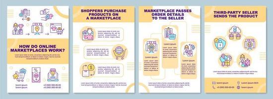 como funcionam os mercados on-line modelo de folheto. negócio online. folheto, livreto, impressão de folheto, design da capa com ícones lineares. layouts de vetor para apresentação, relatórios anuais, páginas de anúncios