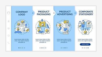 modelo de vetor de integração de pontos de contato de marca corporativa. site móvel responsivo com ícones. passo a passo da página da web telas de 4 etapas. conceito de cor da embalagem do produto com ilustrações lineares