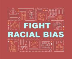 lutar bandeira de conceitos de palavra preconceito racial. proteção dos direitos sociais. infográficos com ícones lineares sobre fundo vermelho. tipografia criativa isolada. ilustração colorida do contorno do vetor com texto