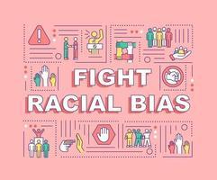 lutar bandeira de conceitos de palavra preconceito racial. direitos sociais. infográficos com ícones lineares no fundo coral. tipografia criativa isolada. ilustração colorida do contorno do vetor com texto