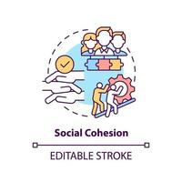 ícone do conceito de coesão social. ilustração de linha fina de ideia abstrata de desenvolvimento de comunidade. solidariedade entre grupos da sociedade. trabalhando juntos. desenho de cor de contorno isolado vetor. curso editável vetor