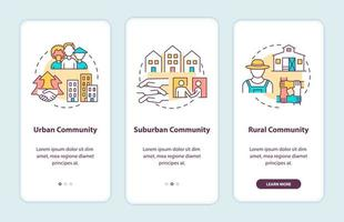 tipos de comunidades tela de página de aplicativo móvel de integração com conceitos. comunidade urbana e rural com instruções gráficas de 3 etapas. modelo de vetor ui, ux, gui com ilustrações coloridas lineares