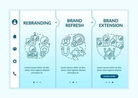 modelo de vetor de integração de mudança de identidade de marca. site móvel responsivo com ícones. passo a passo da página da web telas de 3 etapas. atualização da marca, conceito de cores ampliando com ilustrações lineares