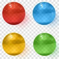 conjunto de esferas de vidro transparente multicolorido com sombras vetor