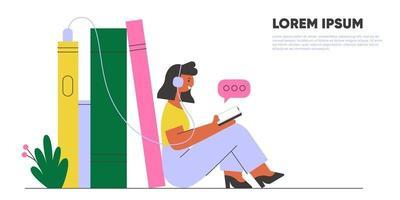 mulher com fones de ouvido, ouvindo livro de áudio. banner de biblioteca online. ilustração em vetor conceito.