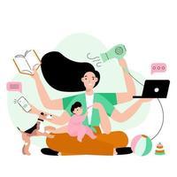 mãe ocupada fazendo muito trabalho em casa. mãe estressada com seis mãos, mantendo o laptop, livro, telefone, secador de cabelo e alimentando seu filho. ilustração em vetor conceito multitarefa.