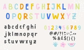 fonte de vetor do alfabeto inglês. alfabeto inglês colorido fofo, fonte vintage, letras manuscritas engraçadas, números e sinais.