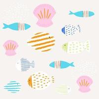 conjunto de conchas e peixes coloridos. padrão de mar de verão para têxteis. papel cortado ilustração simples. vetor