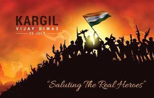 saudando os verdadeiros heróis de kargil vijay diwas vetor