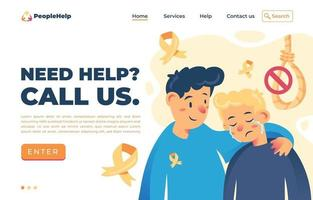 modelo de página de destino para prevenção de suicídio vetor