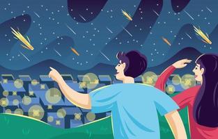 pessoas assistindo chuva de meteoros vetor