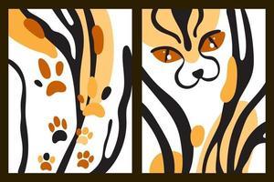 arte de parede infantil abstrata ou cartão postal com listras de tigre, manchas de pata e olhos de gato. fundo do vetor dos desenhos animados