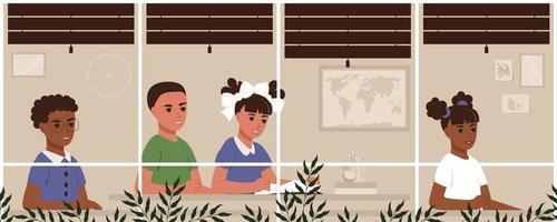 sala de aula na escola. crianças internacionais estudam em suas carteiras na classe. ilustração vetorial dos desenhos animados, meninas e meninos vetor