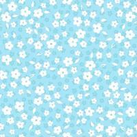 vetor branco pequeno divertimento margarida flores padrão de repetição sobre fundo azul. adequado para têxteis, papel de embrulho e papel de parede.