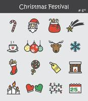conjunto de ícones do festival de Natal 6. design de cor lisa. vetor