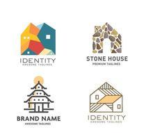 conjunto de conceito de coleção de vetor de design de logotipo de construção imobiliária moderna
