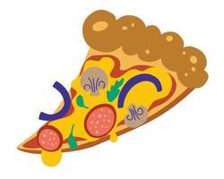 fatia de pizza. deliciosa fatia de pizza com queijo derretido, salame, cebola e cogumelos. ilustração vetorial colorida desenhada à mão para rótulo ou logotipo de refeições gourmet ou serviço de entrega de fast food. vetor