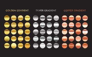 amostras de gradiente metálico. coleção ouro prata cobre acabamentos vetor