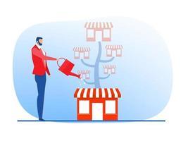 negócio de loja de franquia com árvore de crescimento. ilustração em vetor plana sme promocional de negócios imobiliários.