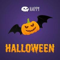 banner de cartão postal de texto feliz dia das bruxas com cara de medo voando vetor