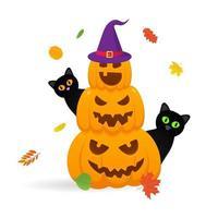 pilha de abóboras de halloween laranja com expressão de rostos assustadores vetor