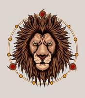 ilustração de cabeça de leão com símbolo espiritual vetor
